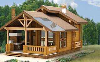 Проект одноэтажной рубленой бани с большой террасой и зоной барбекю VIP-2 — 80 кв