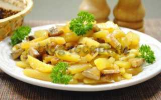 Картошка с жареными грибами, рецепт приготовления