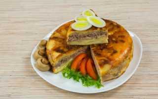 Картофельная запеканка с фаршем и грибами в духовке и мультиварке