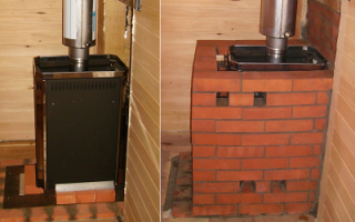 Как обложить металлическую печь кирпичом в бане?