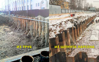 Устройство и установка шпунтового ограждения котлована из труб и досок